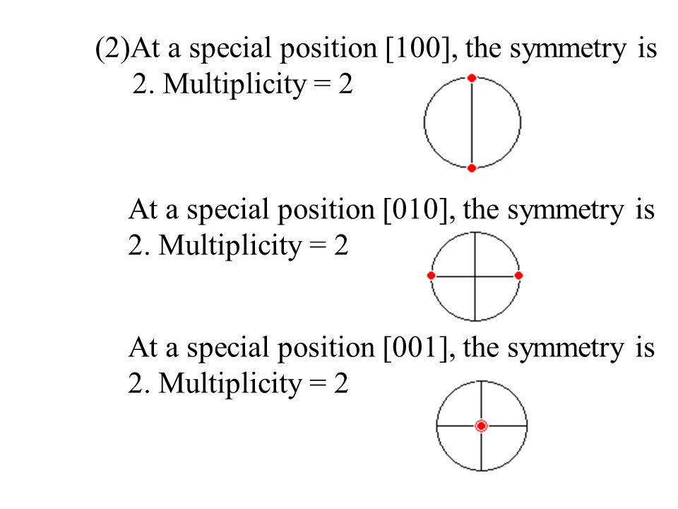 (2)At a special position [100], the symmetry is
